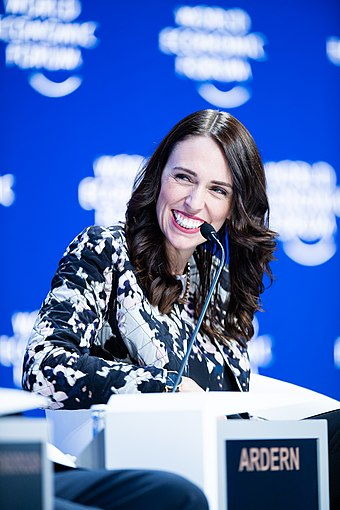 "Ardern speaking during the session ""Safeguarding Our Planet"" at the annual meeting of the World Economic Forum in Davos, 22 January 2019 Safeguarding Our Planet at the Annual Meeting 2019 (45933058755).jpg"