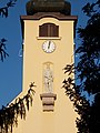 Saint Louis Church tower, clock, statue of Saint Louis in Eger, 2016 Hungary.jpg
