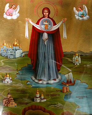Christianity in Azerbaijan - St. Mary Protector of Caucasus icon in Archangel Michael church, Baku.