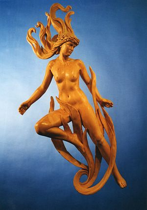 Salacia (mythology) - Denis Parsons' interpretation of Salacia. 5' high Lime wood figure. Private commission for a swimming pool.