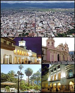 (From top to bottom; from left to right) View of the city from top of San Bernardo Hill; Colonial Cabildo; Cathedral of Salta; Ninth of July Plaza and the Victoria Theatre.