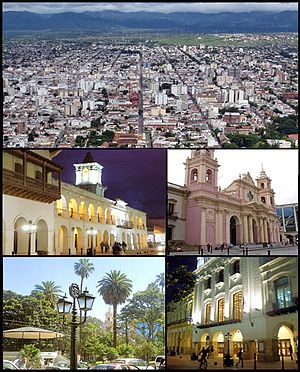 Salta - (From top to bottom; from left to right) View of the city from top of San Bernardo Hill; Colonial Cabildo; Cathedral of Salta; Ninth of July Plaza and the Victoria Theatre.