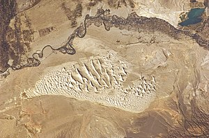 Habahe County - A satellite photo of the Irtysh River in the southeastern part of  Habahe County and the southwestern part of Burqin County, and a desert south of it