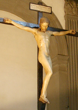Crucifixion - This crucifix is attributed to Michelangelo, notable for showing naked crucifixion.