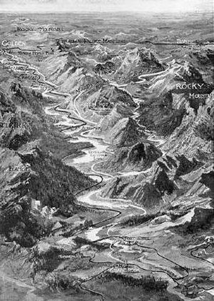 Kootenay River - 1913 bird's-eye view map of the Kootenay and Columbia Rivers in the Rocky Mountain Trench. Columbia Lake is near the center and the Kootenay River flows from the upper right into the foreground.