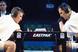 Chess boxing - A picture of a chess round in a chess boxing match in 2008.