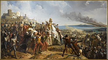 The Battle of Montgisard, 1177. Historical painting by Charles Philippe Larivière (1798–1876)