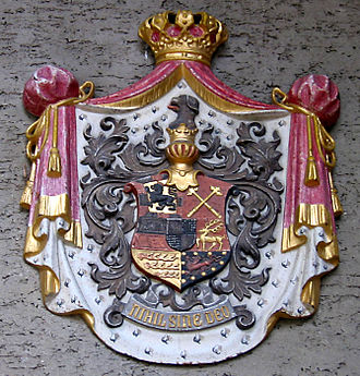 Combined coat of arms of the House of Hohenzollern-Sigmaringen (1849) Schloss Sigmaringen Wappen.jpg