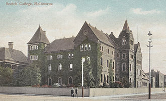 Stan Reid - Scotch College, at Lansdowne Street, East Melbourne (c.1906) — the current location of The Peter MacCallum Cancer Centre — before Scotch College's 1916 move to its current site in Hawthorn