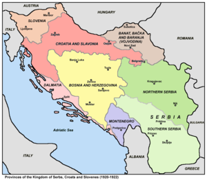 Partition of Bosnia and Herzegovina - Provinces of the Kingdom of Yugoslavia in 1920-1922.