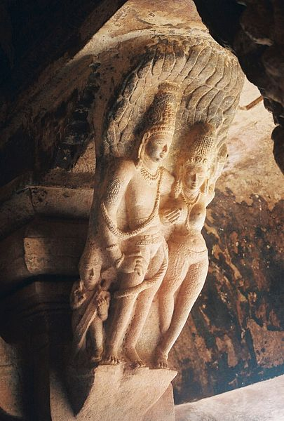 File:Sculpture2 near pillar bracket in Vaishnava cave temple no. 3 in Badami.jpg