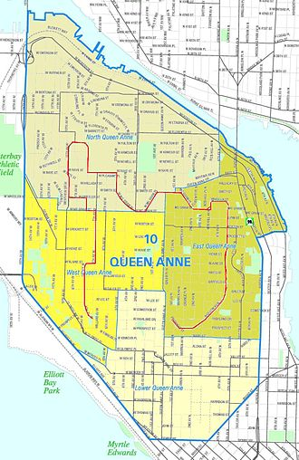 Queen Anne Boulevard - Map of Queen Anne, with the route of the boulevard marked in red.
