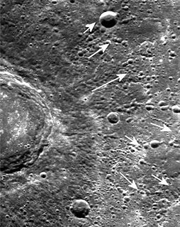 Secondary crater impact crater formed by the ejecta that was thrown out of a larger crater