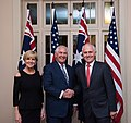 Secretary Tillerson Poses for a Photo with Australian Prime Minister Turnbull and Foreign Minister Bishop at the AUSMIN Dinner in Sydney (34981788361).jpg