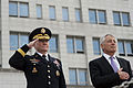 Secretary of Defense Chuck Hagel, right, and Chairman of the Joint Chiefs of Staff U.S. Army Gen. Martin Dempsey stand during an honor guard ceremony at the South Korean Ministry of Defense in Seoul, South 131002-D-BW835-021.jpg