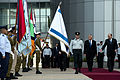 Secretary of Defense Chuck Hagel, second from right, is given an honors arrival by Israeli Minister of Defense Moshe Ya'alon, right, in Tel Aviv, Israel, on April 22, 2013 130422-D-BW835-080.jpg