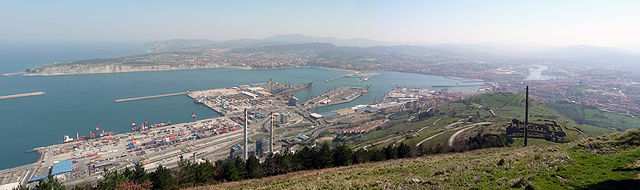 A panoramic view of the port of Bilbao.