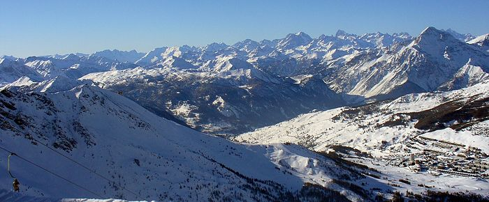Panoramic view of Sestriere in Winter from Monte Motta