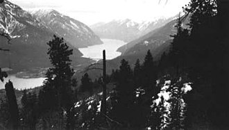 Seton Portage - View of Seton Portage from Mission Mountain, c. 1950 Anderson Lake in background, Seton Lake at lower left