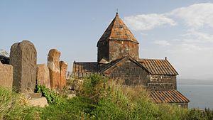 Ashot I of Armenia - Image: Sevanavank über dem Sewansee 03