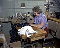 Sewing pieces for shoes at Jaguar Shoes, Calgary, Alberta (34247764793).jpg