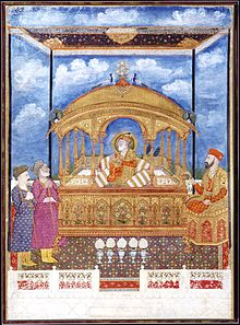 Shah Alam II (1759-1806), the blind mughal Emperor, seated on a golden throne..jpg