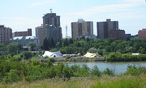 Shakespeare in the Park festivals - Shakespeare on the Saskatchewan festival tents south of the Mendel Art Gallery on the banks of the South Saskatchewan River
