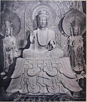 Japanese sculpture - Shakyamuni Triad in Horyuji by Tori Busshi