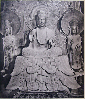 Japanese sculpture - Shakyamuni Triad in Horyuji by Tori Busshi