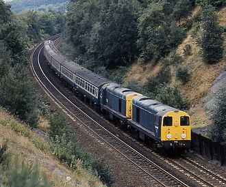 British Rail Class 20 - Two Class 20s working a passenger train
