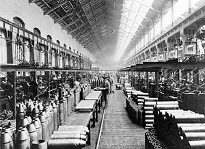 Lancashire and Yorkshire Railway - Shell manufacture at the company's works at Horwich, 1915
