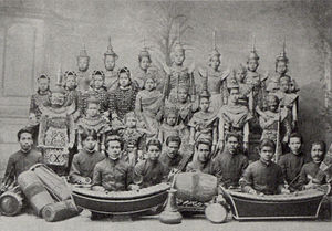 "Thai literature - A Siamese Khon dramatic troupe with accompanying ""Mahoree"" instrumental band"