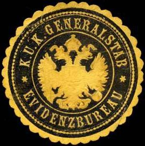 History of espionage - Seal of the Evidenzbureau, military intelligence service of the Austrian Empire.