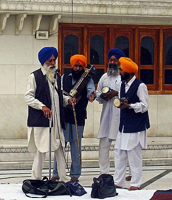 A group of Sikh musicians at the Golden Temple complex Sikh musicians.jpg