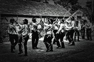 Border Morris - Silurian Border Morris Men dancing Black Ladies Aston