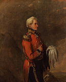Painting of a man in military uniform with red coat, gold epaulettes, and dark trousers with his plumed hat tucked under his left arm
