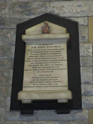 Sir John Stepney, 8th Baronet - Memorial in St Elli church, Llanelli