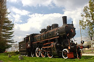Sisak - Steam locomotive in front of the Sisak railway station