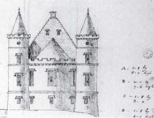 Ardencaple Castle - Sketch by Robert Adam of his planned addition to Ardincaple Castle in 1774.