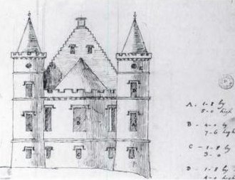 Ardencaple Castle - Sketch by Robert Adam of his planned addition to Ardincaple Castle in 1774.