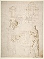 Sketches of a Funeral Monument, a Niche with Statues, a Helmet in the Shape of a Human Head, an Entablature and a Female Statue MET DP810673.jpg