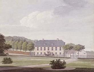 Skodsborg - House in Skodsborg in c. 1840, waterccolour by H. G. F. Holm
