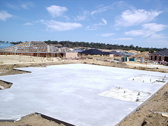 Geotechnical engineering - Example of a slab-on-grade foundation.