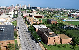 Saint Louis University - NE quarter of Frost Campus with Parks College of Engineering, Aviation, and Technology
