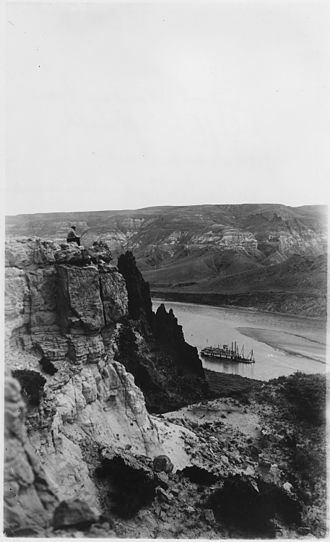 Snagboat - The snagboat Mandan seen from a bluff overlooking the Missouri River (July 1912).