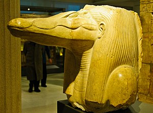 Sobek - This statue of Sobek was found at Amenemhat III's mortuary temple (which was connected to his pyramid at Hawara in the Faiyum), serving as a testament to this king's devotion to Sobek. Ashmolean Museum, Oxford.