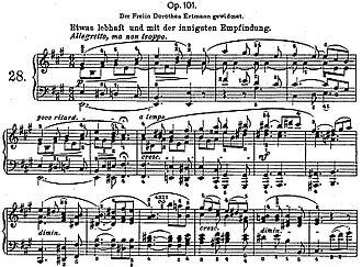 Piano Sonata No. 28 (Beethoven) - Opening of Beethoven's Piano Sonata No. 28 in A major, Op. 101