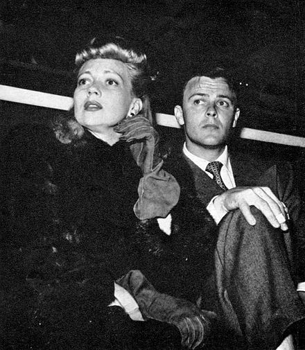 Sothern and Robert Sterling at a Hollywood Stars baseball game (1942) Sothern-Sterling-1942.jpg