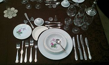Galateo costume wikipedia - Disposizione bicchieri a tavola ...