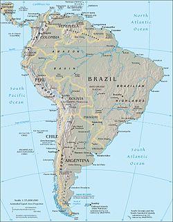 Χάρτης της Νότιας Αμερικής